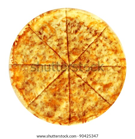 Cheese pizza on white background isolated - stock photo