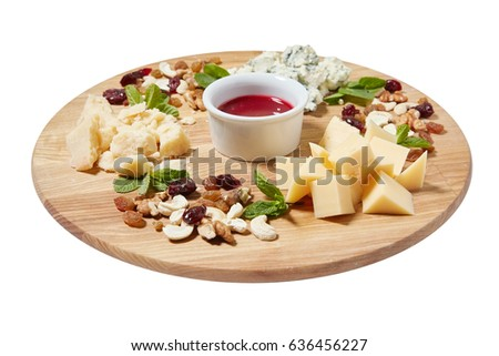 Cheese plate antipasti snack with mixed Italian cheese cashew fresh mint leaves walnuts  sc 1 st  Shutterstock : italian cheese plate - pezcame.com