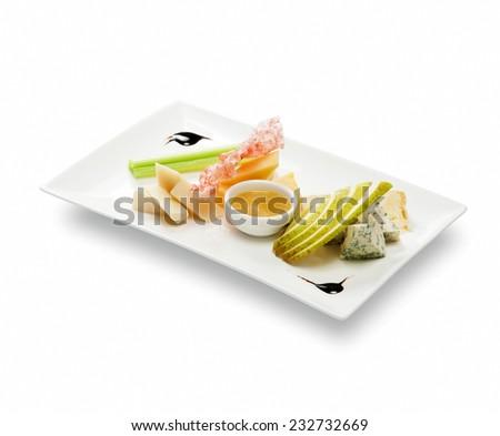Cheese plate with fruit sauce (roquefort; gorgonzola; cambozola; danish; tuyeres; d'amber; dor; stilton; saint; agur) - stock photo