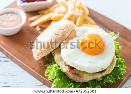 cheese pork hamburger with french fries