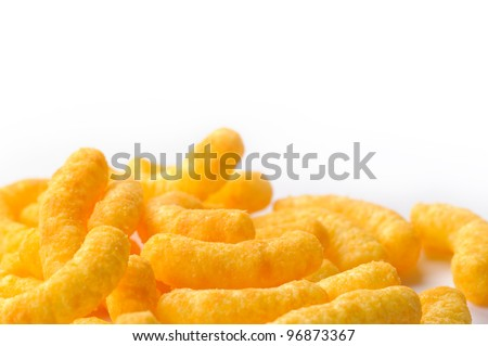 Cheese puffs with copy space