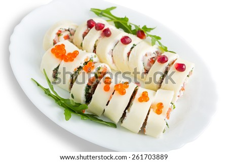 Cheese rolls with ham and red fish, on a white background