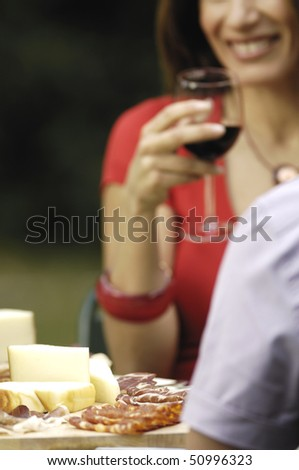 cheese, salami and couple - stock photo