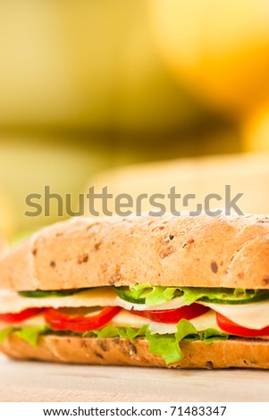 Cheese sandwich with paprika and green lettuce. Shallow depth of field.