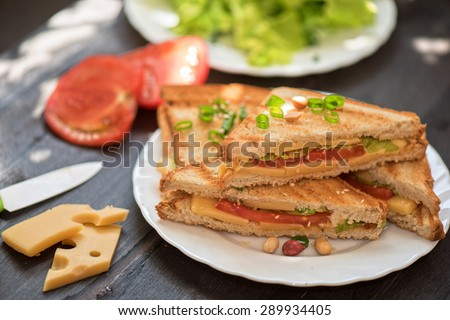 Cheese sandwich with tomato and green lettuce - stock photo