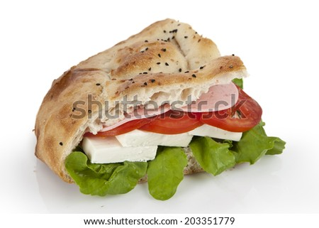 Cheese sandwich with tomato, cucumber and salad isolated on white background - stock photo