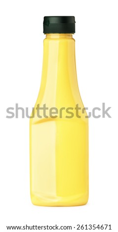 Cheese sauce in a bottle on a white background  - stock photo