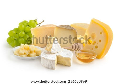 cheese selection, honey and grape isolated on white background - stock photo