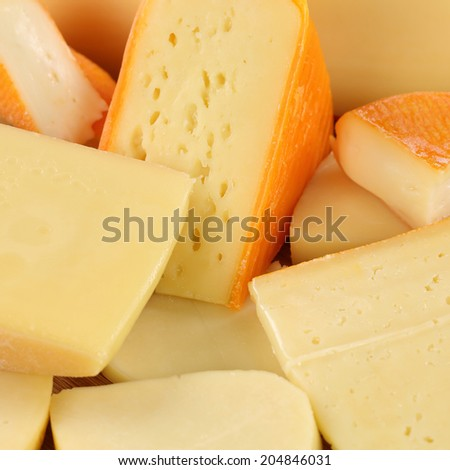 Cheese selection with Gouda, Leerdammer, hard and Swiss cheese - stock photo