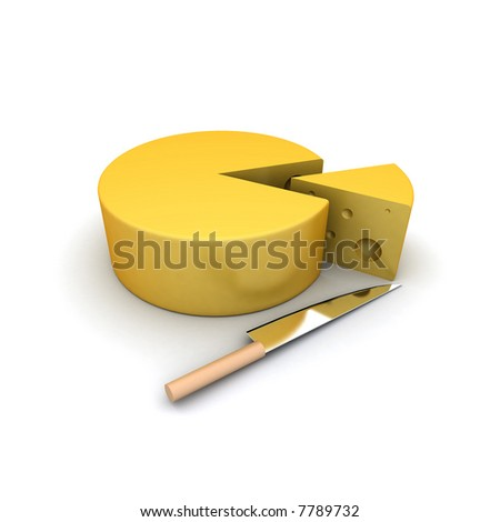 Cheese slice and a knife