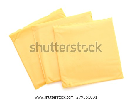 cheese slices on white background  - stock photo