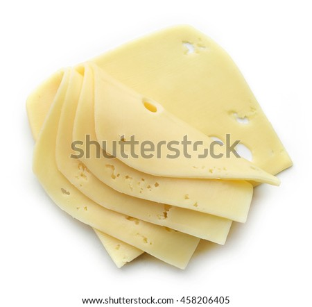 cheese slices on white background, top view