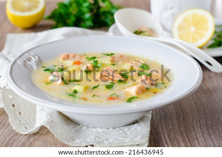 Cheese soup with salmon - stock photo