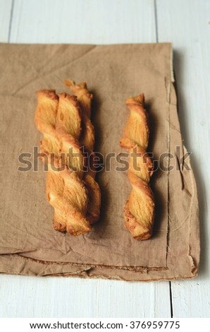 Cheese sticks with puff pastry and cheddar cheese