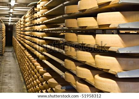 Cheese storehouse, Gruyere , Switzerland - stock photo