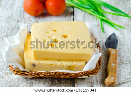Cheese Truckle, selective focus - stock photo