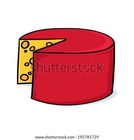 Cheese Wheel Illustration; Yellow Cheese; Swiss cheese Drawing - stock photo