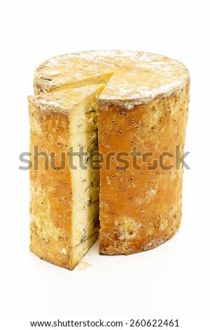 Cheese Wheel with Wedge - stock photo