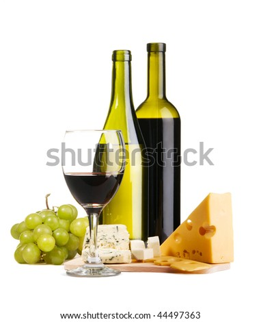 Cheese, white and red wine, isolated on white background - stock photo