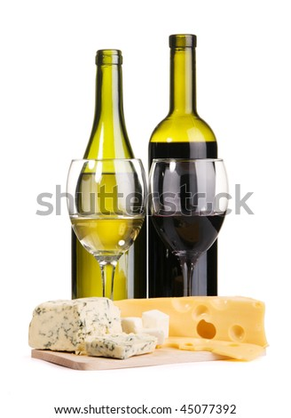 Cheese, white and red wine, isolated on white background
