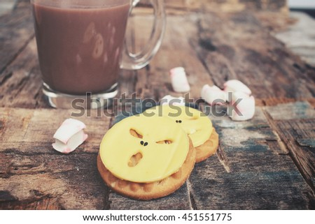 Cheese with cookie in halloween day