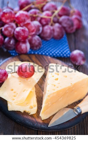 cheese with grape  - stock photo