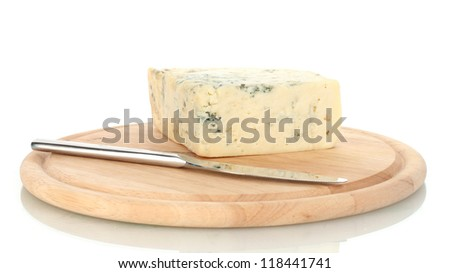 Cheese with mold and knife on the cutting board isolated on white background