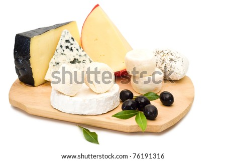 Cheese with olives - stock photo