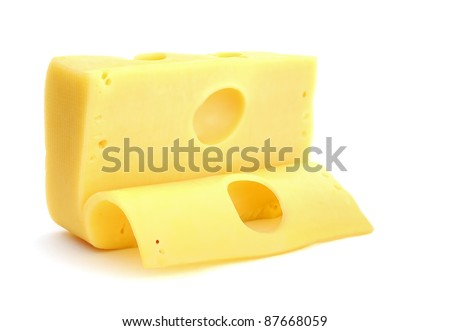 Cheese with slice isolated on white background