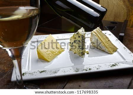 cheese with wine - stock photo