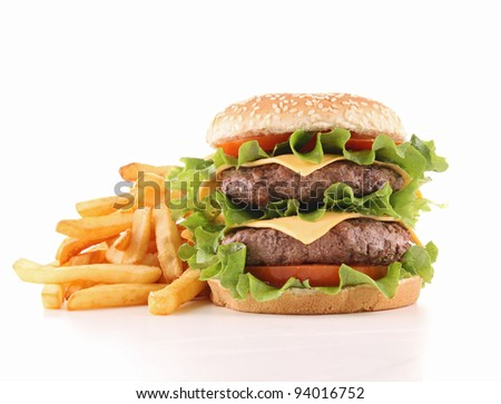 cheeseburger and french fries - stock photo
