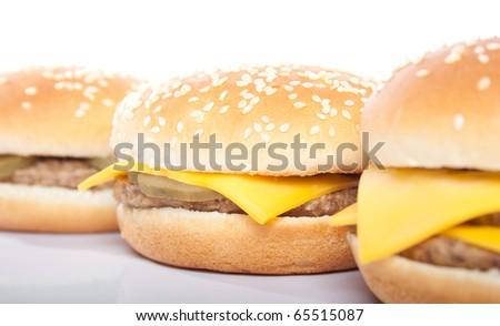 cheeseburger and hamburger closeup - stock photo