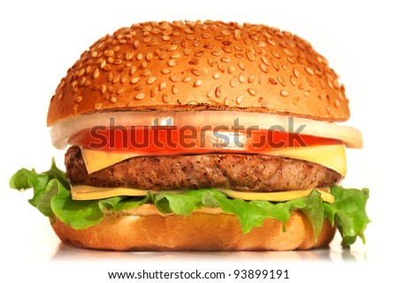 Cheeseburger. Cheeseburger on white background. Vintage Cheeseburger. Home made burger. Fastfood meal. Pub burger. Delicious burger. Gourmet Cheeseburger. Cheeseburger isolated. Rustic Cheeseburger. - stock photo