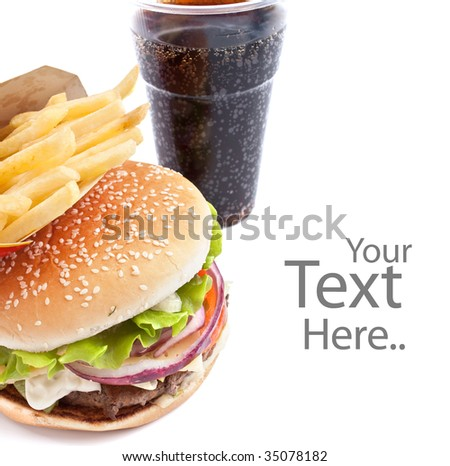 cheeseburger, french fries and cola on white background - stock photo