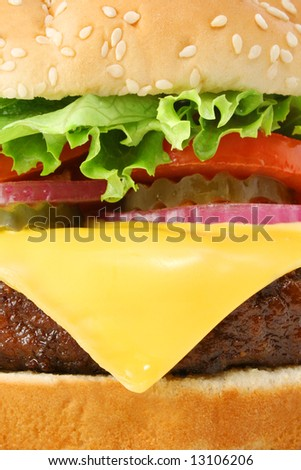 Cheeseburger hamburger macro close-up. Fast food & barbecue collection. - stock photo