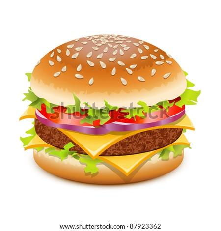 Cheeseburger, hamburger with cheese over white - stock photo