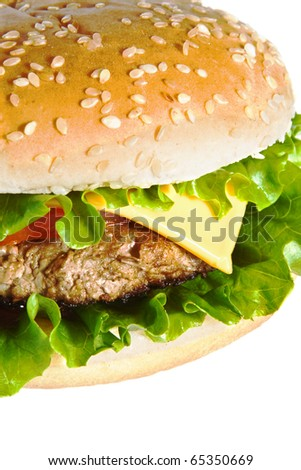 Cheeseburger isolated on white - stock photo