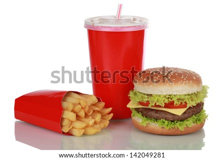 Cheeseburger meal with french fries and a cola drink, isolated on white - stock photo