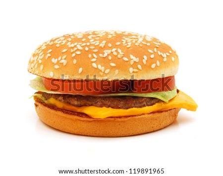 cheeseburger on white - stock photo