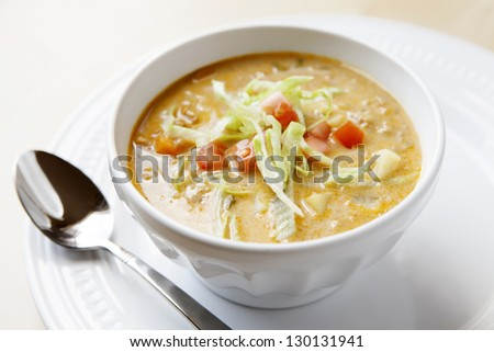Cheeseburger Soup - stock photo