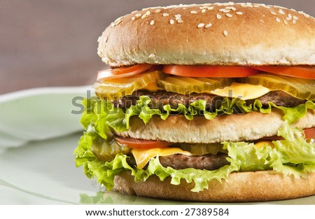 Cheeseburger with lettuce tomato and ketchup - stock photo