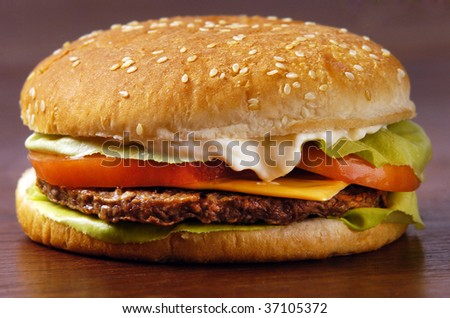 Cheeseburger with lettuce tomato and mayo