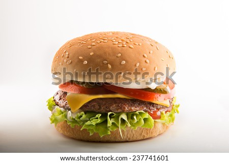 Cheeseburger with lettuce,tomato,onion and pickle.