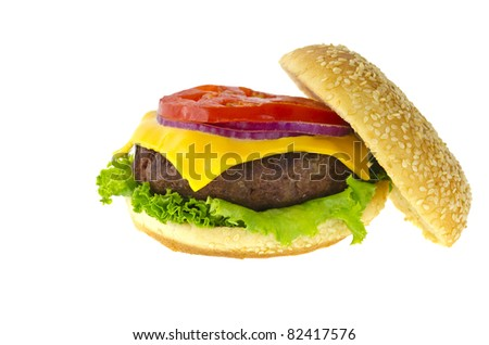 Cheeseburger with the works isolation - stock photo