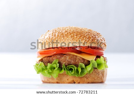 Cheeseburger with tomatoes and lettuce on white - stock photo