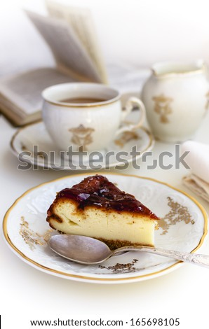 Cheesecake and Coffee with milk