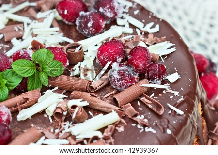 Cheesecake baked with dried sweetened cranberries and covered in melted chocolate. Garnished with chocolate shavings, sugar coated cranberries and a sprig of fresh mint. Extreme shallow DOF. - stock photo