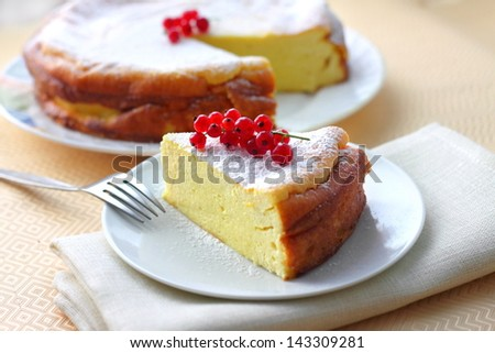 Cheesecake decorated with red currant - stock photo