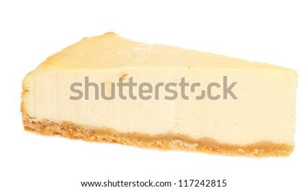 Cheesecake isolated on white background - stock photo