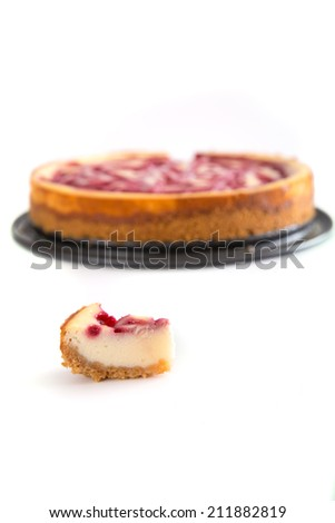 Cheesecake on a plate - stock photo